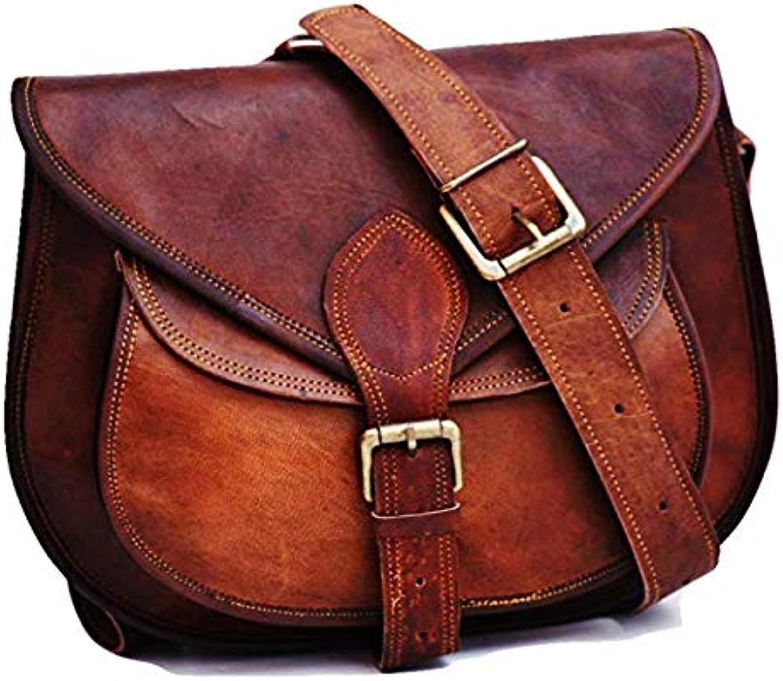 Crafat Leather 13  inch Handmade Satchel Bag Cross-Body Sling Bag for Women Brown