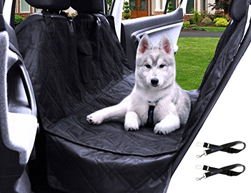 Transpawt Luxury Pet Car Back Seat Cover - Large Waterproof Hammock Style - Black, 57' L x 55' W with Additional 8' Side Seat Protectors. Includes Bonus x2 Dog Seat Belts