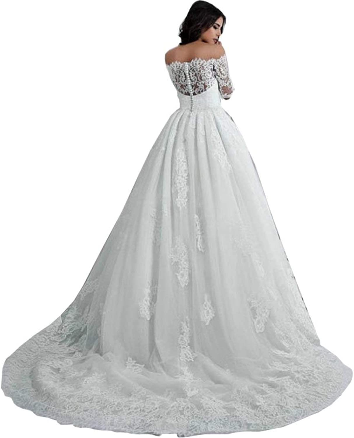 Yilian Sexy Half Sleeves Back Button Ruffles Bridal Gowns Off Shoulder Lace Ball Gown Wedding Dresses