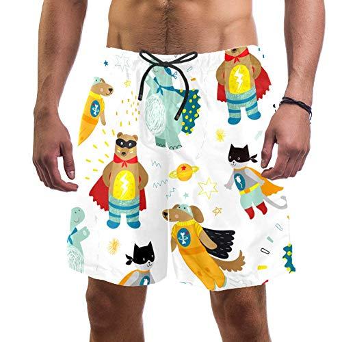 Lindo perro gato oso e hipopótamo pantalones cortos para hombre, corte entallado, secado ultra rápido Multicolor multicolor XL