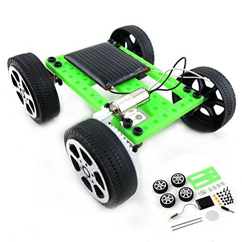Voberry 1 Set Mini Solar Powered Toy DIY Car Kit Children Educational Gadget Hobby Funny Thousands of Mercury Mini II Solar Toys Trolley DIY Handmade Popular Assembled Toys (Green)