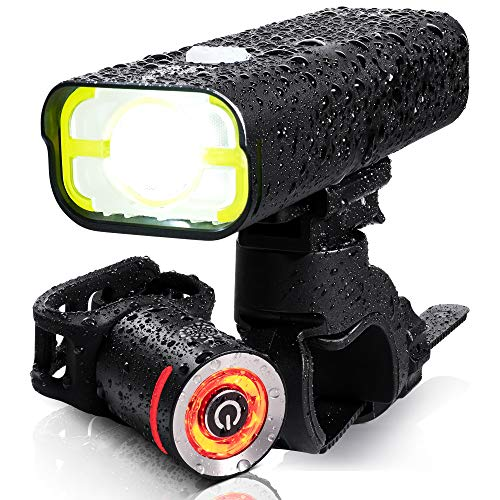 BrightRoad Bike Headlight USA FL1 Approved 800 Lumens Bike Lights Front and Back Rechargeable with Side Alarming Hole IPX6 Waterproof Bicycle Light Mountain Bike Light Led Bike Tail Light