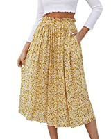 Naggoo Skirts for Women Floral Printed,High Waist Pleated Swing Midi Skirt Pockets (M, Yellow Floral)