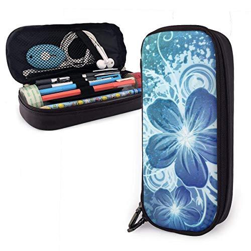 Estuche de lápices de cuero de nuevo diseño Estuche de papelería escolar Estuche de lápices personalizado de flor azul