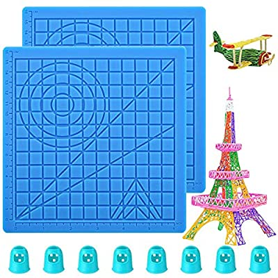 VEGCOO 3D Printing Pen Mat, Multi-Shaped Silicone 3D Pen Drawing Template with 8 Finger Protectors, As Gift for 3D Beginners/Kids/Adults (2)