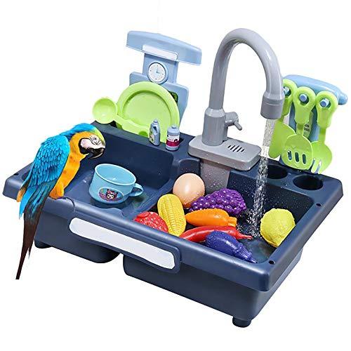 BIPY Bird - Bañera automática para loro con grifo azul pájaro baño ducha dispensador de agua loro con juguetes para mascotas