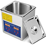 VEVOR Ultrasonic Cleaner 1.3L Ultrasonic Parts Cleaner Professional Stainless Steel Industrial Ultrasonic Cleaner Jewelry Cleaner with Heater Timer(1.3L)