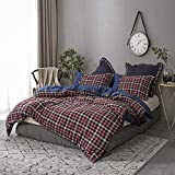 Simple&Opulence 100% Cotton and Flannel Duvet Cover Set, Blue and Red Grid Denim, 3 Piece Bedding Set Including 1 Comforter Cover and 2 Pillow Shams, Soft and Comfortable(Queen, Blue and Red)