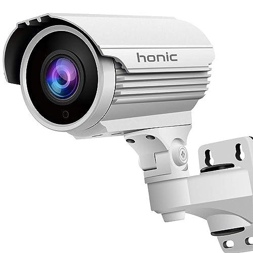 Bright Clear Night Vision 1080P Sony Exmor Sensor (TVI/AHD/CVI/1200tvl) 2.8-12mm Manual Zoom Security Camera, Honic 2MP Varifocal CCTV Cameras, Outdoor Waterproof Analog Camera for Video Surveillance