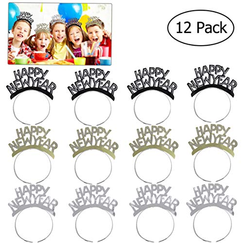 Tinksky HAPPY NEW YEAR Headband Tiara New Years Party Favors Gold Silver Black 12 Pieces