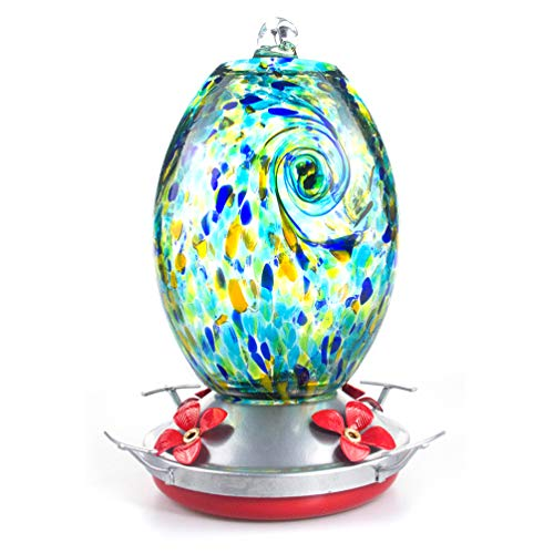 Muse Garden Hummingbird Feeder for Outdoors, Hand Blown Glass, 25 Ounces, Containing Ant Moat, Starry Night