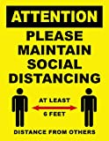Attention Please Maintain Social Distancing Sign Poster - 25 Pack
