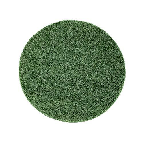 ayshaggy Shaggy Teppich Hochflor Langflor Einfarbig Uni Grün Weich Flauschig Wohnzimmer, Größe: 200 x 200 cm Rund