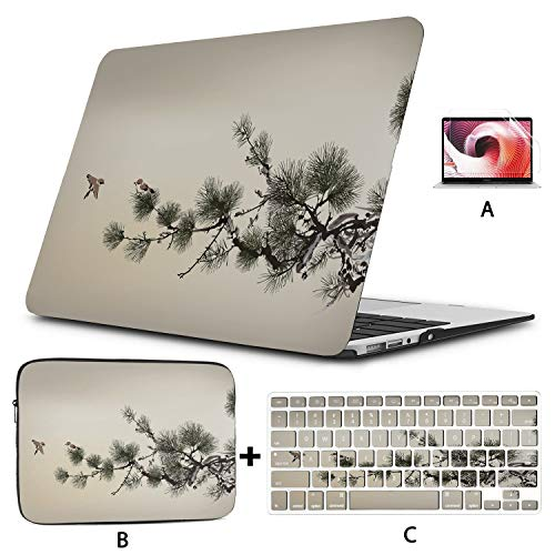 Mac Book Pro Covers Ink Style Pine Tree Birds 2018 MacBook Pro Accessories Hard Shell Mac Air 11'/13' Pro 13'/15'/16' with Notebook Sleeve Bag for MacBook 2008-2020 Version