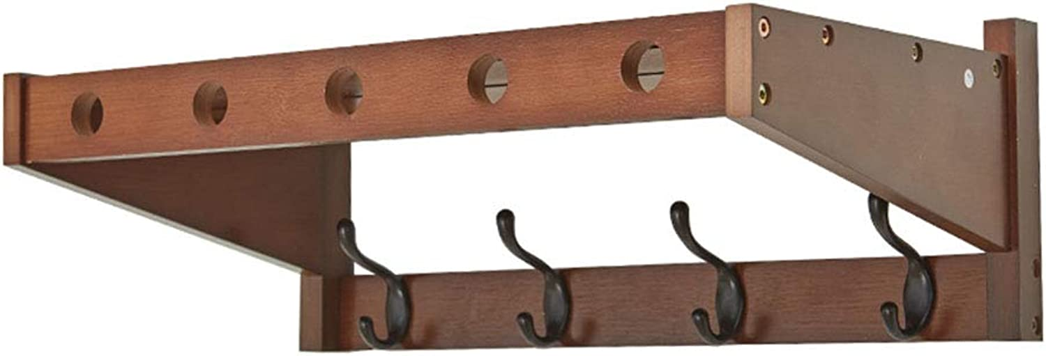 Chunlan Coat rack Wall-Mounted Wooden Coat Rack, Double, Multi-Functional Racks, Porch Restaurant Bathroom, 3 colors, Optional Multi-Size (color   Brown, Size   52.5  30  18cm)