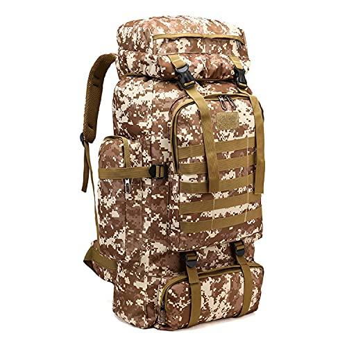 Kabxhueo Sac à Dos randonnée Militaire 70L + 10L Sac a Dos Moto Homme Sac à Dos Tactique Etanche Sac de Survie Complet pour Trekking/randonnée/Camping/Voyages Sac à Dos,Desert Camouflage