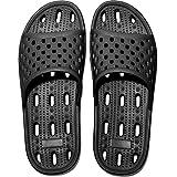 Zapatillas de Ducha para Mujeres Antideslizantes Chanclas y Sandalias de Piscina Sandalias de Baño, Negro,37 EU