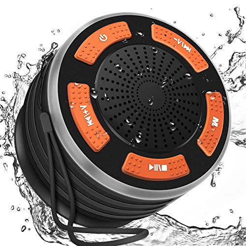 IPX7 Waterproof Shower Bluetooth Speaker DINTO Wireless Portable Outdoor Bluetooth Speaker with Microphone for Bathroom Shower Beach Pool Outdoors Party Travel Hiking