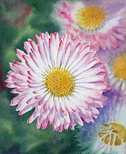 Pintura redonda completa del diamante de la margarita inglesa de la flor del punto de cruz de la decoración del hogar del bordado del diamante