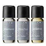 Duftöl Set - herbe Düfte - Sandelholz, Moschus, Bittermandel - Aromaöl für Duftlampe und...