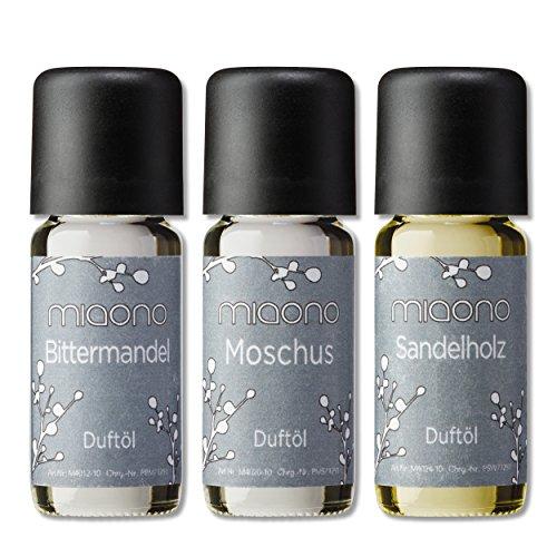 Duftöl Set - herbe Düfte - Sandelholz, Moschus, Bittermandel - Aromaöl für Duftlampe und Diffuser von miaono