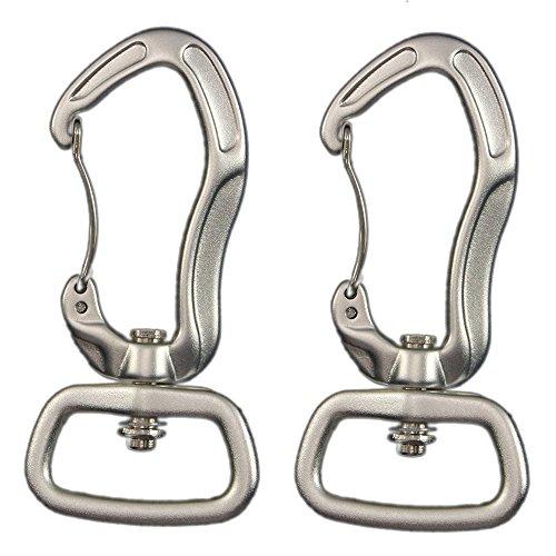 PSKOOK Tangle-Free Swivel Luftfahrt Aluminium Karabinerhaken mit Drehverschluss/Twist Lock Karabiner mit Wirbel(Silber)