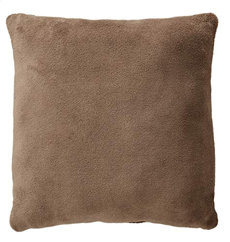 Plain Taupe Cushion - Approx. 50 x 50 cm – 100% Polyester – 1 Microfibre Side + 1 Sherpa Side