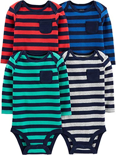 Simple Joys by Carter's Boys' 4-Pack Soft Thermal Long Sleeve Bodysuits, Stripes, 24 Months