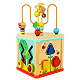 Dreampark ビーズコースター ルーピング 子供のおもちゃ 多機能 モンテッソーリ知育 アクティビティキューブ 子ども モンテッソーリ教育おもちゃ 木製 マルチプレイセット 7歳以上