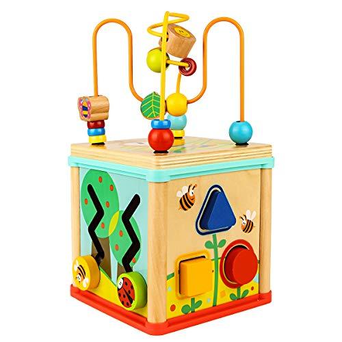 Dreampark ビーズコースター ルーピング おもちゃ アクティビティキューブ 子ども 知育玩具 木製 赤ちゃん ...