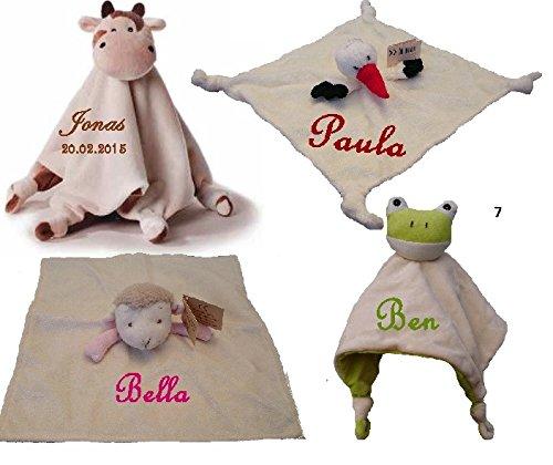 *Baby Kuscheltuch mit Namen bestickt Bär Storch Schaf Schmusetuch*