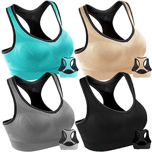 4 Pack Women Racerback Sports Bras High Impact Workout Yoga Gym Activewear Fitness Bra (Black+Grey+Blue+Nude, XXL(Fit for 44B 42C 44C 38DD 40D 42D 44D))