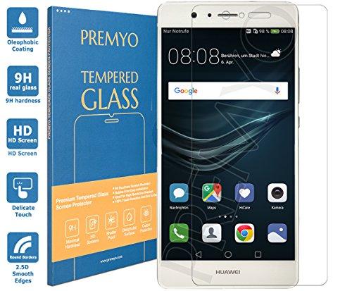 PREMYO Panzerglas Schutzglas Bildschirmschutzfolie Folie kompatibel für Huawei P9 Lite Blasenfrei HD-Klar 9H 2,5D Gegen Kratzer Fingerabdrücke