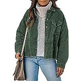 FeMereina Chaqueta de pana suelta con botones para mujer, cuello de vuelta, color sólido, vendimia, manga larga, ropa exterior con bolsillo, verde, XXL