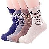 Calcetines para mujer con diseño de búho, diseño de perro y gato, regalo divertido