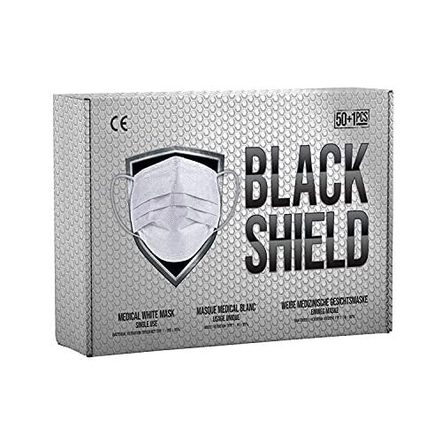 BLACK SHIELD - 100 unidades - Mascarilla Quirúrgica Tipo IIR Blanca - Certificación CE - 3 capas - Filtración BFE  98%.