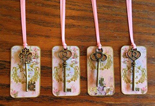 Alice in Wonderland party tag 12 eat me, drink me, take me, open me with bronze vintage keys