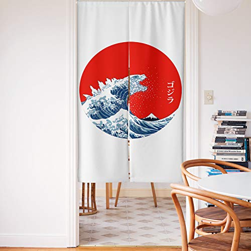 Spanker Space Ukiyoe Red White and Blue Japanese Mythical Creature The Great Waves Godzilla Artistic Japanese Noren Doorway Curtain Fabric Cotton Linen for Home Kitchen Door Decor 34x59 Inches