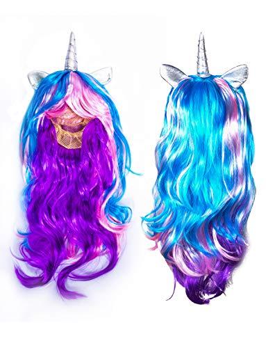 MJ Unicorn Wig Unicorn Headband for Girls Kids Women Cosplay Costume Birthday Party Decoration Favors Headwear Hair Accessories