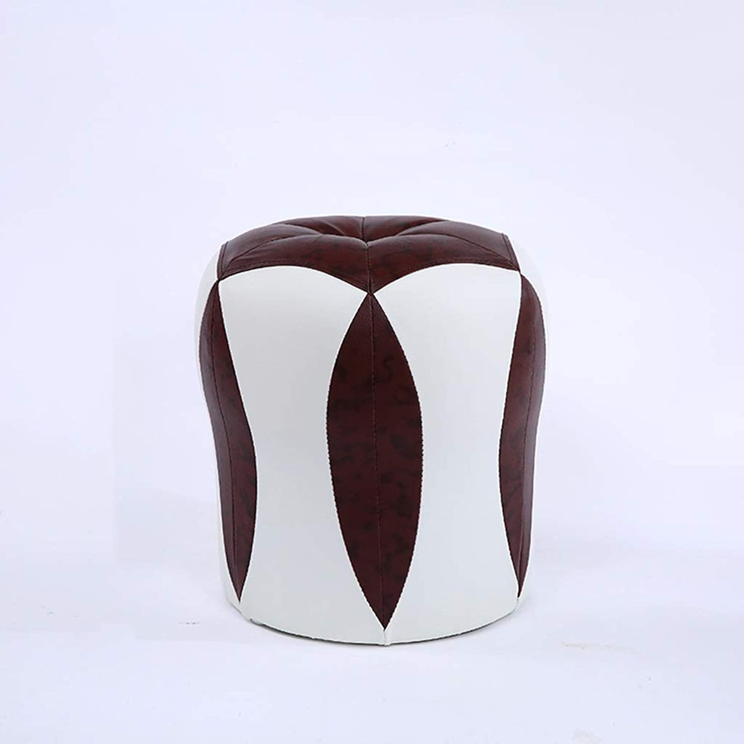 Creative Round Stool Simple Style Footstool Solid Wood Leather Stool Small Sofa Household Decoration (color   Brown)