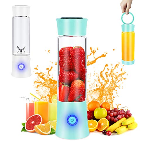 Portable Blender, Personal Blender for Shakes and Smoothies, 6 Stainless Steel Blades Cordless USB Rechargeable Juicer Cup with 4000mAh Batteries, Handheld 16oz Mini Travel Blender Small Fruit Mixer Detachable for Home Office Gym Outdoor, Green
