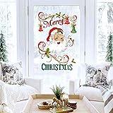 Decalplanet Christmas Santa Wall Decals Merry Christmas Snowflake Xmas Window Clings Removable DIY Wall Art Holiday Window Sticker Bedroom Door Décor
