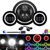 DOT H4 7'' Multi-color Halo Headlight & RGB Halo Passing Light For HD Electra...