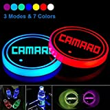 2pcs LED Cup Holder Lights for Camaro SS RS, LED Car Coasterss with 7 Colors Luminescent Light Cup Pad, USB Charging Cup Mat Accessories (forCamaro)