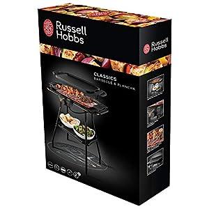 Russell Hobbs Grill 2in1 Elektrogrill: Standgrill & Tischgrill (Innen- & Außennutzung   inkl. Grillplatte & -Rost mit wärmeisolierten Griffen   5 Temperaturstufen   Fettauffangschale   2000W) 20950-56