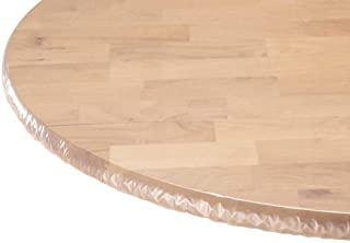 (Large Round Table) - LAMINET - Plastic Elastic Fitted Table Cover Protector - Clear - Large Round - Fits Tables up to 110...