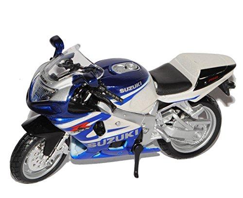 Bburago Suzuki GSX-R750 Blau Weiss 1/18 Modell Motorrad mit individiuellem Wunschkennzeichen
