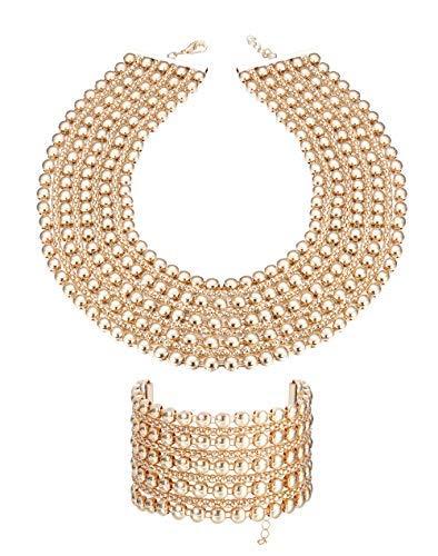 Collar grueso pulsera para mujer chapado en oro plata Metal Declaración conjunto de joyas