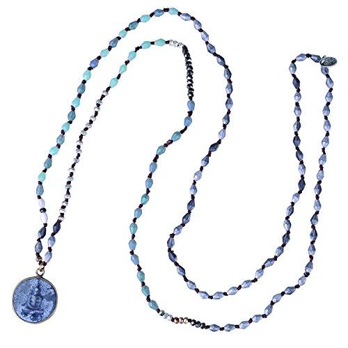 KELITCH Collares Con Colgante De Buda Sakyamuni Collares Con Cuentas De Plata Y Cristal Joyería De Meditación Y Yoga (Verde C)