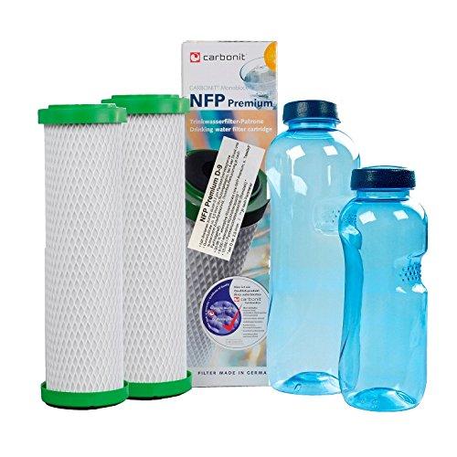 Sanquell GmbH 2 NFP-Premium D Carbonit Wasserfilter | hohe Filtration | reduziert deutlich Blei- & Kupfer im Trinkwasser | nachhaltig Gratis: 2 Blaue TRITAN-Wasserflaschen | BPA-frei